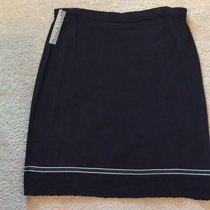Kate Hill Black Knit Skirt White trim size XL